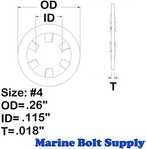 Pack of 50 Marine Bolt Supply 3//8 Stainless Steel Internal Tooth Star Lock Washers
