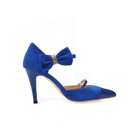 Material blau geschlossene Heels Solid Sandalen Zehe Schnalle AllhqFashion Frauen weiches Spitze High XzwqqEP8