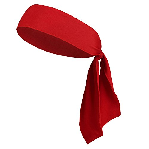 "V-SPORTS Dri-Fit Head Ties Tennis Headbands Sweatbands Performance Elastic and Moisture Wicking, Red, 1 Piece, One Size, 40.16""L/2.37"