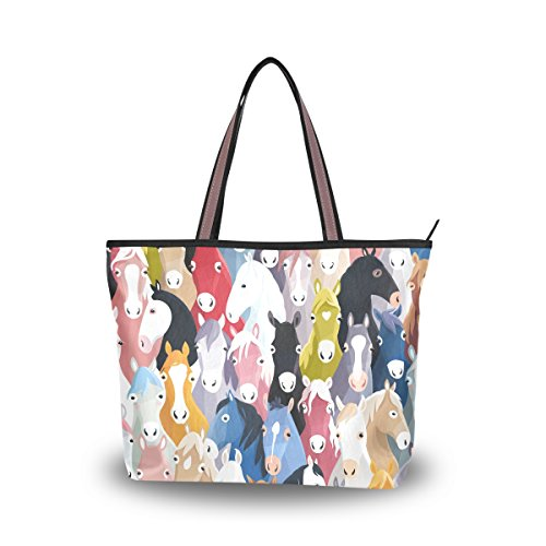 Horse Tote Bag - JSTEL Women Large Tote Top Handle Shoulder Bags Horse Patern Ladies Handbag L