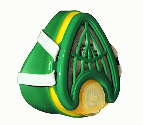 CANHEAL-Dust-Mask-Washable-and-Reusable-4-Active-Carbon-Filters-Included-Multi-Purpose-Particulate-Respirator-Small-Medium-Dark-GreenYellow