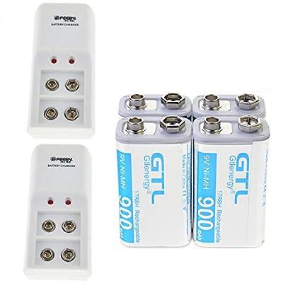 FidgetFidget Battery Charger 220V 9V 600mAh NI-MH Rechargeable Battery (4 Pcs) + 9 Volt