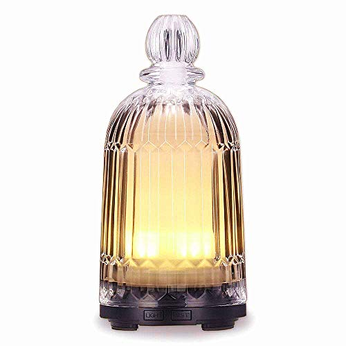 DOUDING Glass Oil Diffuser, Ultrasonic Aromatherapy Essential Oil diffuser with Adjustable Mist Mode, Safety Waterless Auto Shut-off and 7-color LED Night Lights for Woman Home Office Baby ()