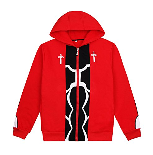 Dawn BG Fate Emiya Shirou Cosplay Hoodies Archer Red Jacket Unisex Outfit (XL, Red) ()