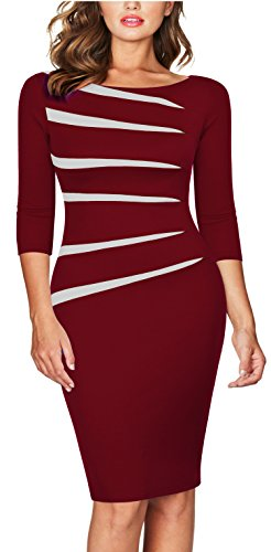 FORTRIC Women 2/3 Sleeve Slim Asymmetric Stitching Bodycon Business Work Pencil Dress Burgundy S