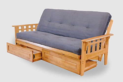 Full with Drawers Austin Hardwood Futon | Suede Gray Mattress