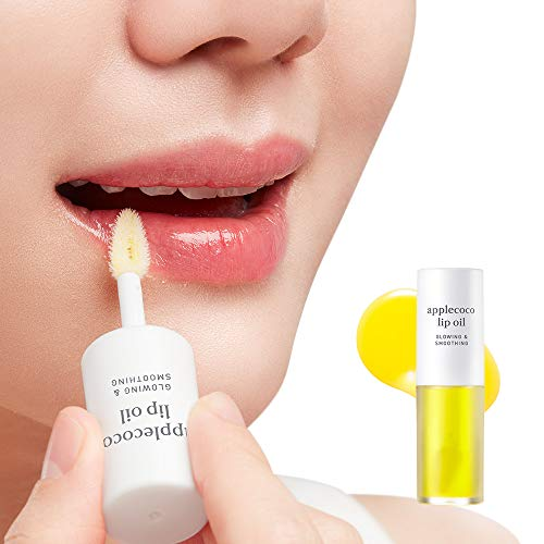 Oil Lip Treatment - NOONI Applecoco Lip Oil Glossy 0.12 Ounces, Lip Mask Coconut Oil, Healing Ointment, Lip Treatment, Essential Oil, Natural Moisturizing Gloss, Soothing Lip Water, Hydrating Oil, Intense Nourish Lips