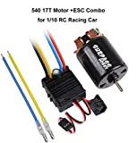 540 17T 4 Poles Brushed Motor and 60A Brushed ESC Combo with 5V/2A BEC Waterproof 540 Motor ESC Combo for 1/10 RC Racing Car