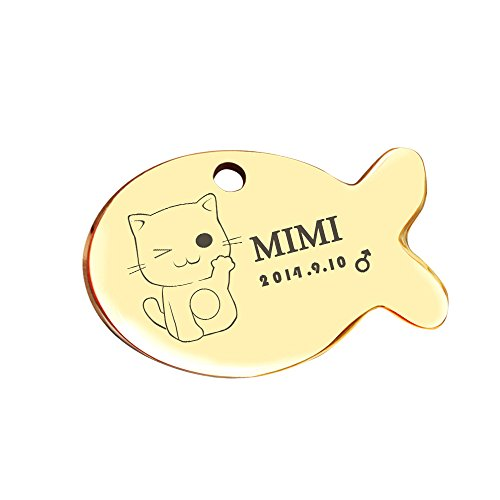 Ondoing Pet ID Tags for Dogs & Cats Personalized Custom Engraved Stainless Steel Golden-Fish - Engraved Fish