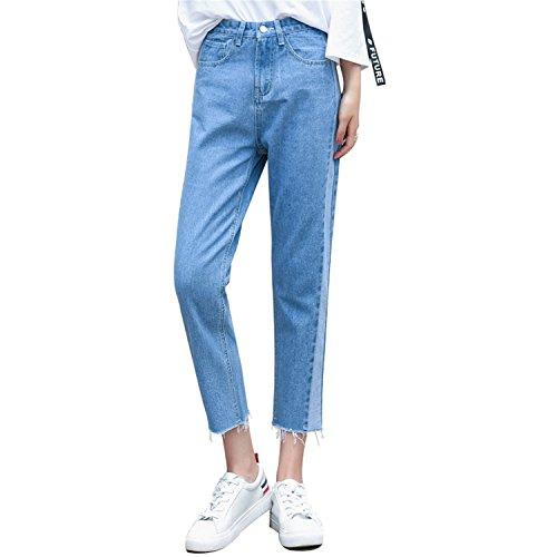 Auspiciousi Qoerlin 26-32 Taille Haute Splice C?t Rayures Jeans Bleu lamin Vintage Zipper Bouton Pocket Denim Pantalon Denim Pantalon Femme Blue