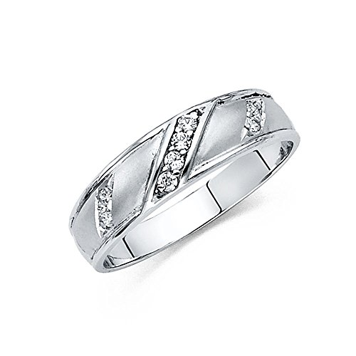Wellingsale Men's Solid 14k White Gold Polished CZ Cubic Zirconia Wedding Band - Size 11 by Wellingsale®