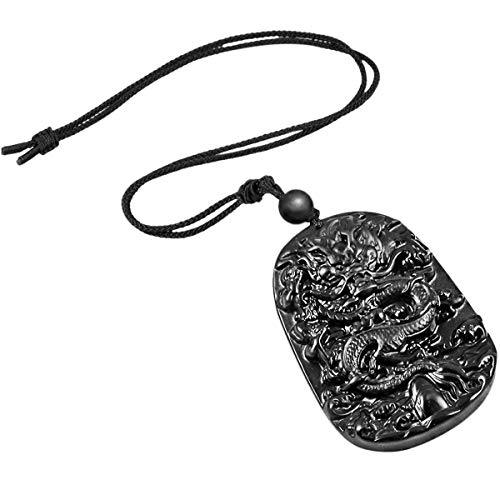 TUMBEELLUWA Stone Pendant Healing Crystal Necklace Obsidian Amulet Chakra Quartz Power Cord Handmade Jewelry for Women Men,Dragon