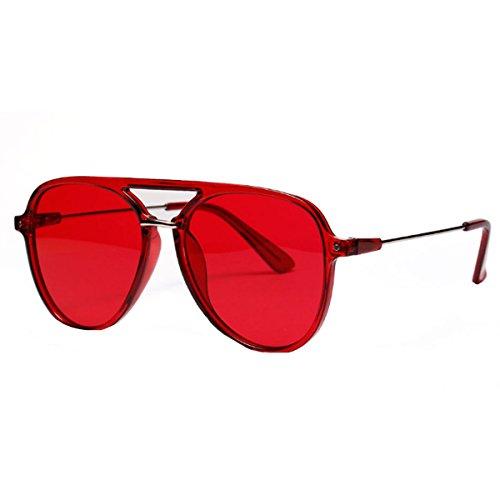 (Danse Jupe Color Lens Sunglasses Stylish Aviator Eyewear Metal Sunglasses, Red)