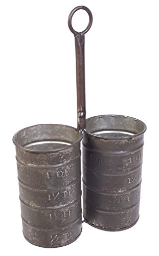 Galvanized Metal Rustic Decor Double Can Multipurpose - Wine Hanging Caddy