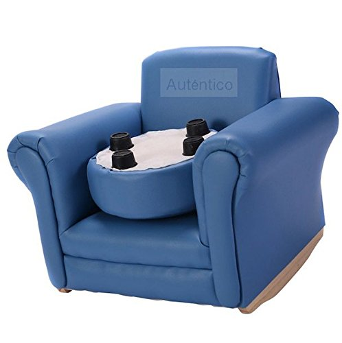 Blue Kids Sofa With Footstool Armrest Chair Couch Portable Lightweight Easy To Move Around Kids Children Toddler Birthday Present Gift Home Living Room Space Saving Furniture Comfortable Material by Autentico