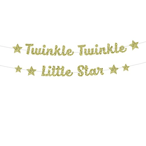 Twinkle Twinkle Little Star Banner in Gold Glitter for Baby Shower (DIY) Neutral Star