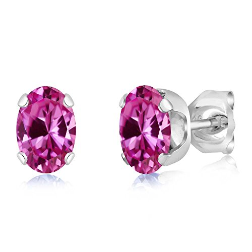 6x4mm Oval Pink Sapphire Earring - 6