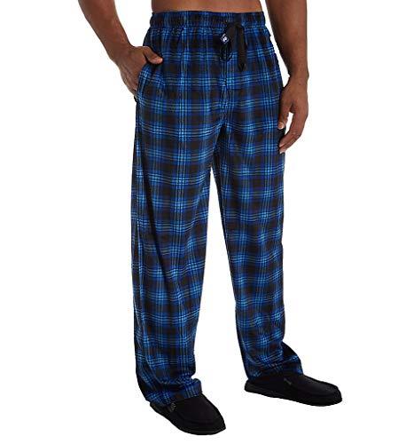 IZOD Mens Matte Silky Fleece Sleep Pant (Medium, Navy/Green/White Plaid)