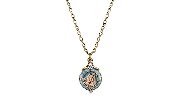 1928 Co 14K Gold-Dipped Crystal Blue Enamel Mary and Child Pendant Necklace 24