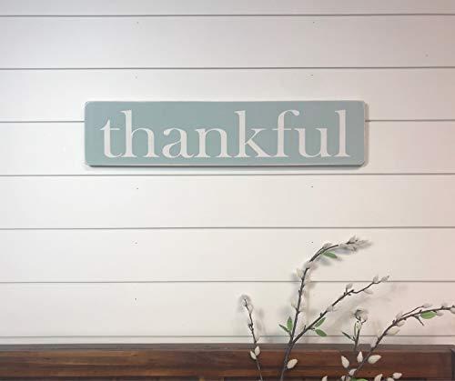 Larmai Cartel de Madera rústica con Texto en inglés Thankful, para decoración del hogar, Collage de Pared, recámara,...