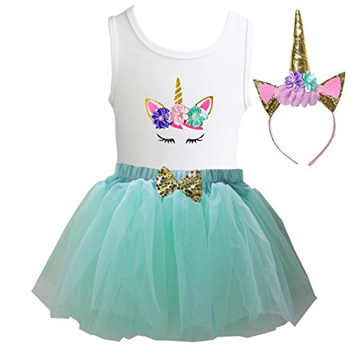 Kirei Sui Girls Mint Tulle Tutu Birthday Unicorn XS Unicorn - Unicorn Mint