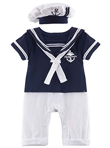 COSLAND Baby Boys' 2 Pieces Sailor Romper Outfit (Royal blue, 0-3 -