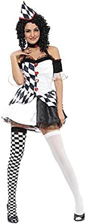 Adult Lady Harlequin Jester Medieval Fancy Halloween Dress Party Complete Outfit