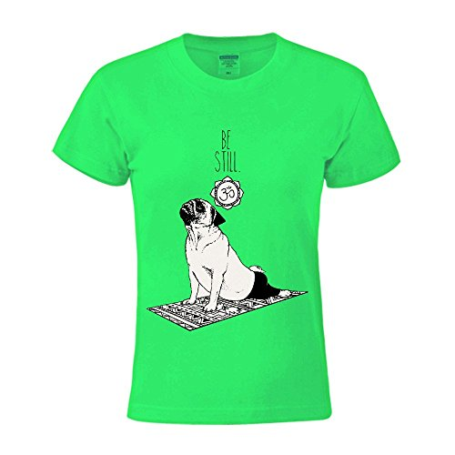 Charles Cheek Be Still Pug Womens 100  Cotton Round Neck T Shirts Green