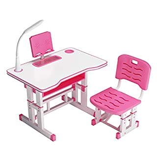 Kids Desk and Chair Set, Adjustable Height Children Study Table and Chair, with LED Light Writing Desk Combined, Study Desk Chair with Drawer Bookstand Storage for School and Bedroom
