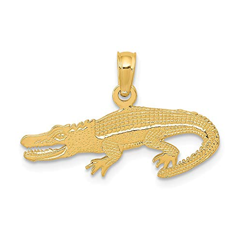 14k Yellow Gold Textured Alligator Pendant Charm Necklace Animal Crocodile Man Fine Jewelry Gift For Dad Mens For Him ()