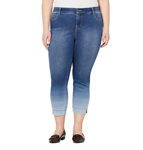 Avenue Women's Dip Dyed Flexi Fit Ankle Jean, 22 Medium Wash