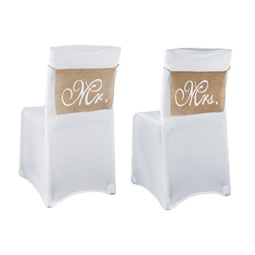 Vlovelife Mr & Mrs Burlap Chair Banner Set Chair Sign Garland Rustic Vintage Wedding Party Chair Decoration - 14'' x 9'' - 1 Pair ()