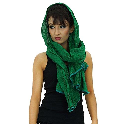 Femmes Indian Wrap Longueue De Coton Chunni Voile Vert Dupatta Echarpes Étole En 5wqwB84
