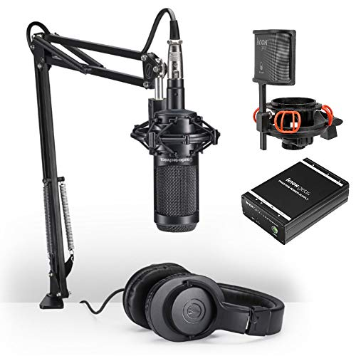 (Audio-Technica AT2035PK Vocal Microphone Streaming and Podcasting Pack with Knox Gear Shock Mount and Portable Phantom Power Supply)
