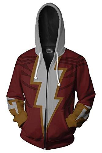 Amos Carter Shazam Costume Sweatshirt Superman Hoodie Captain Billy Batson Cosplay Jacket]()