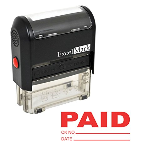 ExcelMark PAID With Check and Date Self-Inking Rubber Stamp - (A1539-Red Ink)