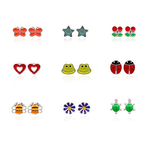 Childs Enamel Hearts (Gudukt Mixed Color Heart Ladybug Cute Animal Stud Earrings For Girls)