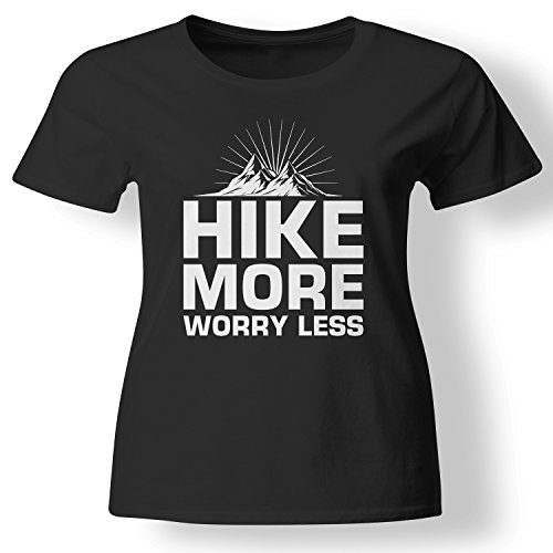 Hike More Worry Less Outdoors Mountain T Shirt Womens Black X-Large (Less Mountains T-shirt)