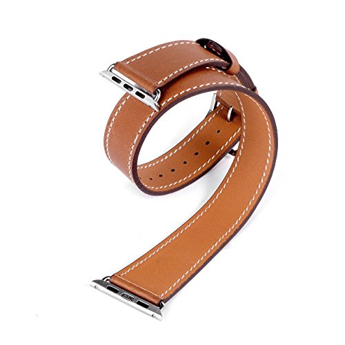 eLander Apple Watch Band Luxury Genuine Leather Watch Band Strap Bracelet Replacement Wrist Band with Adapter Clasp for iWatch Apple Watch & Sport & Edition - 42mm - Double Tour Brown