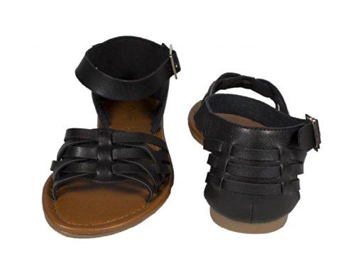 Stad Geclassificeerd Womens Jowl Peep Toe Enkelband Platte Sandaal, Zwart Kunstleer, 10 M Us