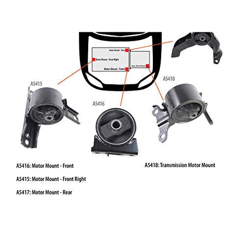 DNJ MMK1067 Complete Engine Motor & Transmission Mount kit for 2007-2013 / Jepp, Mitsubishi, Dodge/Patriot, Compass, Caliber, Lancer, Outlander Sport/DOHC / 2.0L, ()