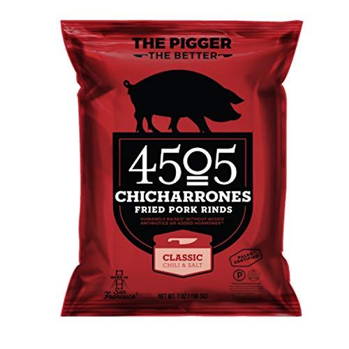 4505 Classic Chili & Salt Pork Rinds, Pork Chicharrones, Family Size Bag, 7oz