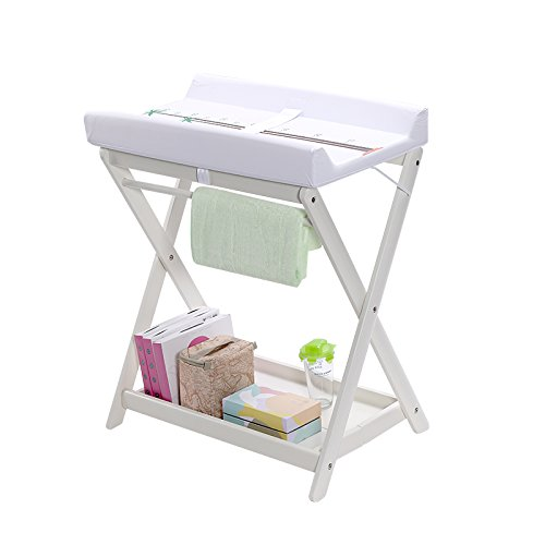 ALUS- Collapsible Baby Changing Table, High-Grade Beech 82 cm Height Waterproof and Antifouling Diaper Table Nursing Desk, Load 60 Kg (Color : White)