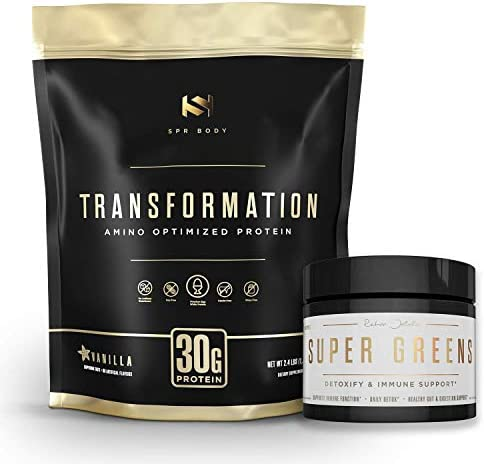 Transformation Premium Protein Powder Super Greens Immune Boosting Combo Pack – Energy, Gut Health, Detox Diet Support – 30g Protein 1 Full Serving Vitamins Vegetables – Natural Wellness Kit