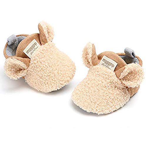 (RVROVIC Baby Boys Girls Cozy Fleece Booties with Non Skid Bottom Warm Winter Socks Khaki)