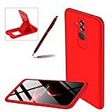 3 in 1 Hard Case for Huawei Mate 20 Lite,Red Heavy Duty PC Back Cover for Huawei Mate 20 Lite,Herzzer Stylish Ultra Thin Anti-Scratch Armour Defender Shockproof PC Case