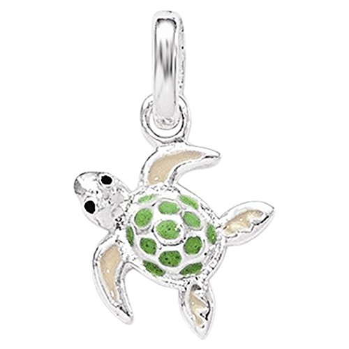 .925 Sterling Silver Children's Enameled Sea Turtle Charm Pendant ()