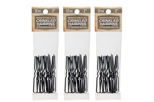Hairpins 2 Inch Crinkled Stainless Steel SILVER Heavy Duty Snagless 3 Packs (36 PINS) Handmade Hair Pin