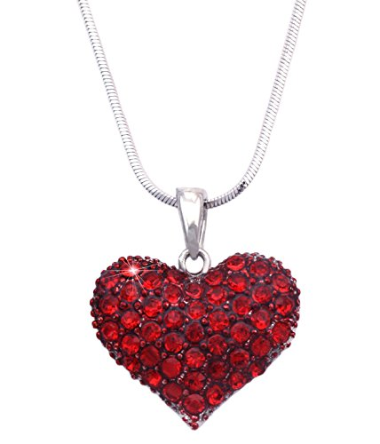 Valentine's Day Gift Small Red Love Heart Pendant Necklace Girl Fashion Jewelry n48r
