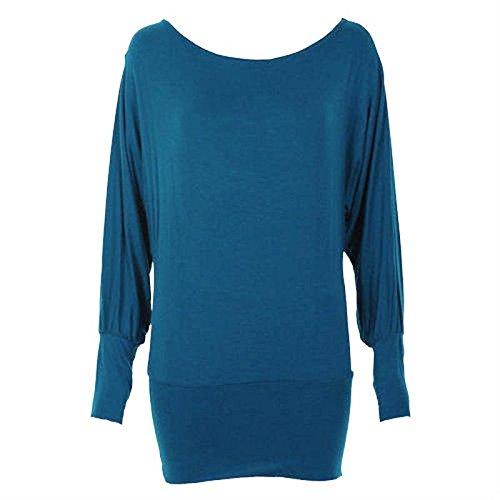 taglio da forti donna lunghe a con maniche vert Bleu ampio taglie pipistrello 48 58 Maglia Bleu nUd0qwpW0